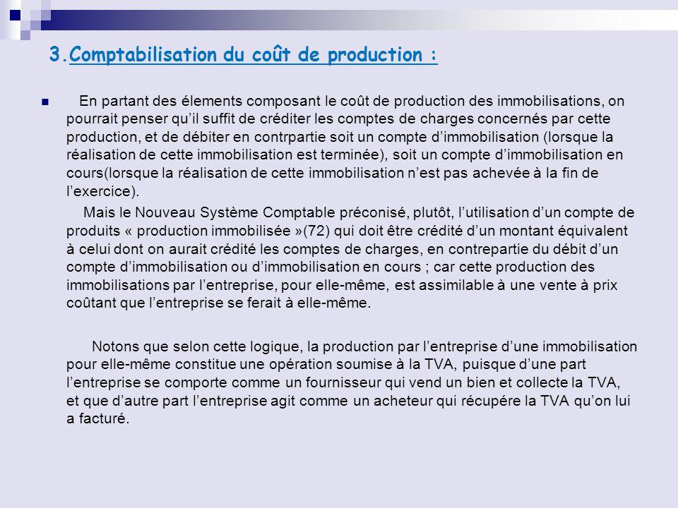3.Comptabilisation du coût de production : En partant des élements composant le coût de production des immobilisations, on pourrait penser quil suffit