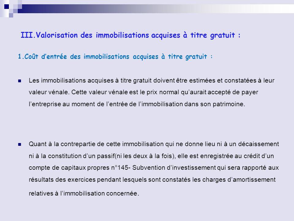 III.Valorisation des immobilisations acquises à titre gratuit : 1.Coût dentrée des immobilisations acquises à titre gratuit : Les immobilisations acqu