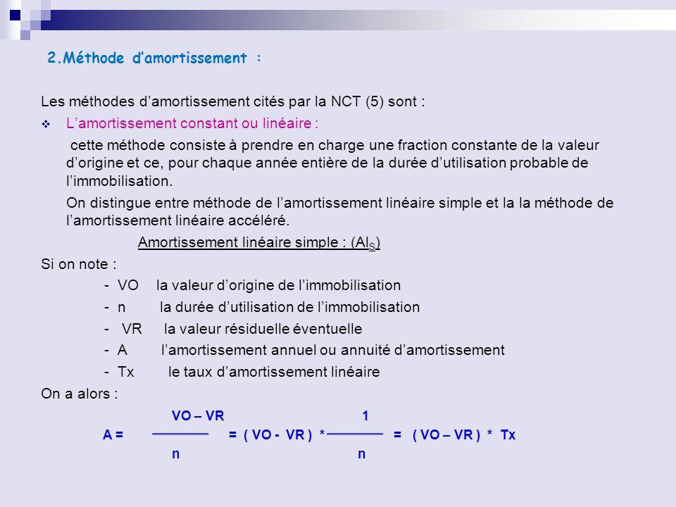 2.Méthode damortissement : Les méthodes damortissement cités par la NCT (5) sont : Lamortissement constant ou linéaire : cette méthode consiste à pren