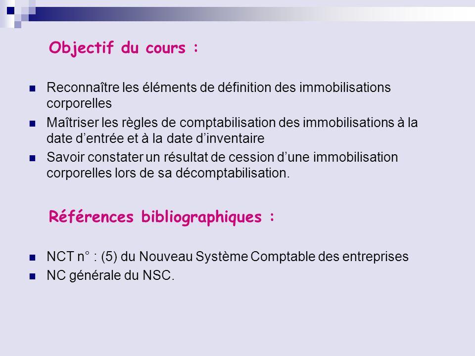Objectif du cours : Reconnaître les éléments de définition des immobilisations corporelles Maîtriser les règles de comptabilisation des immobilisation