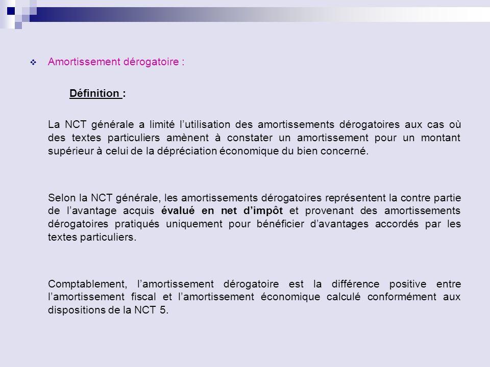 Amortissement dérogatoire : Définition : La NCT générale a limité lutilisation des amortissements dérogatoires aux cas où des textes particuliers amèn