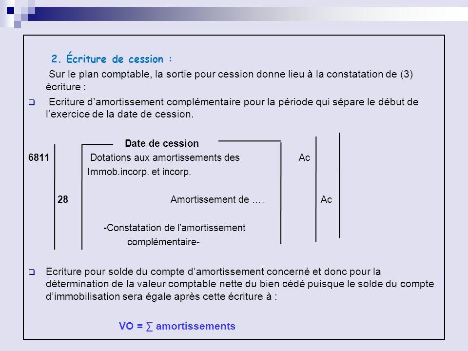 2. Écriture de cession : Sur le plan comptable, la sortie pour cession donne lieu à la constatation de (3) écriture : Ecriture damortissement compléme