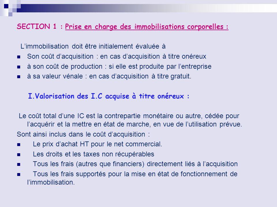 SECTION 1 : Prise en charge des immobilisations corporelles : Limmobilisation doit être initialement évaluée à Son coût dacquisition : en cas dacquisi