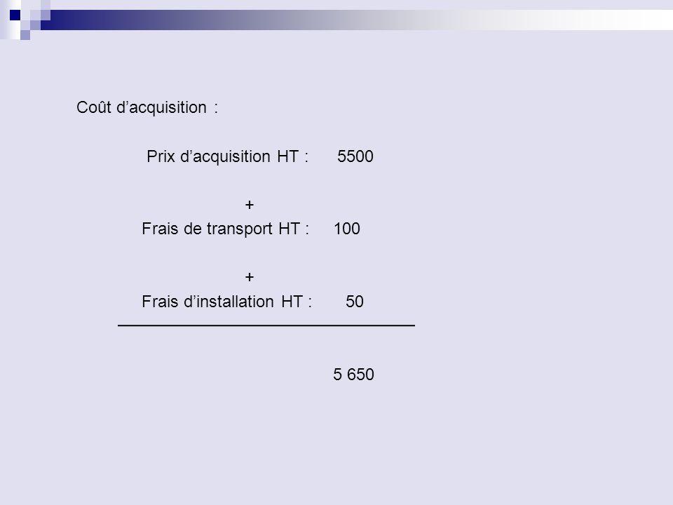 Coût dacquisition : Prix dacquisition HT : 5500 + Frais de transport HT : 100 + Frais dinstallation HT : 50 5 650