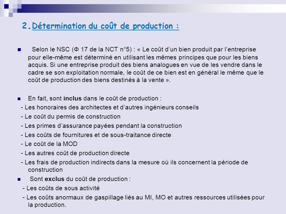 2. Détermination du coût de production : Selon le NSC (Φ 17 de la NCT n°5) : « Le coût dun bien produit par lentreprise pour elle-même est déterminé e