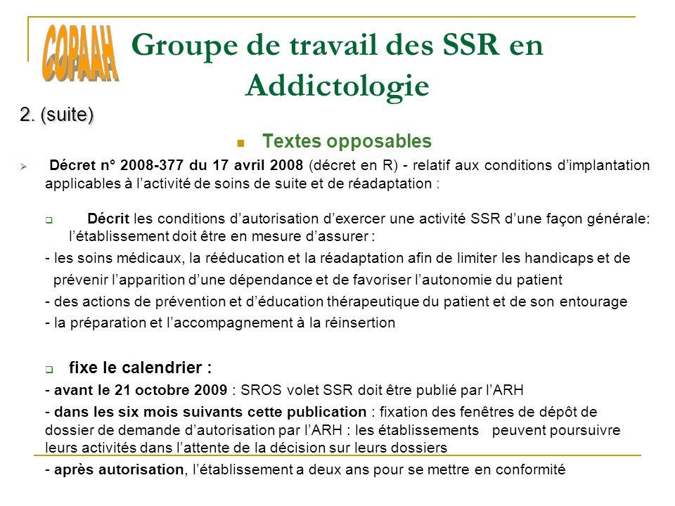 Groupe de travail des SSR en Addictologie 4.