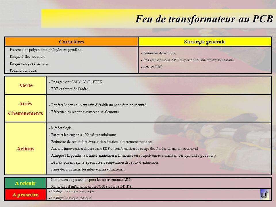 Feu de transformateur au PCB CaractèresStratégie générale - Présence de polychlorobiphényles ou pyralène. - Risque délectrocution. - Risque toxique et