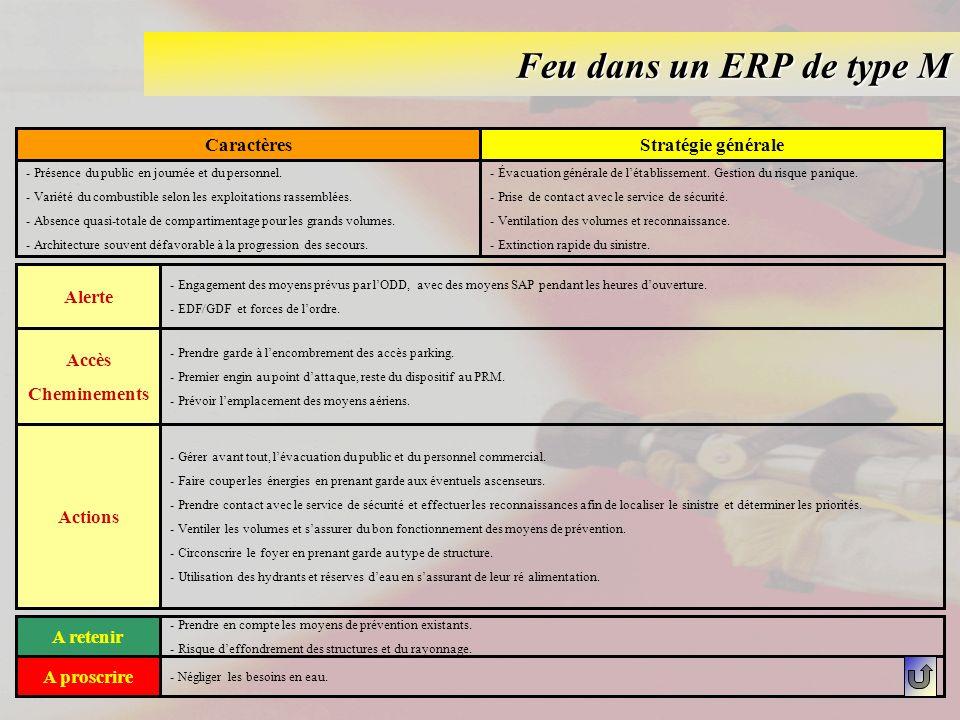 Feu dans un ERP de type M CaractèresStratégie générale - Présence du public en journée et du personnel. - Variété du combustible selon les exploitatio