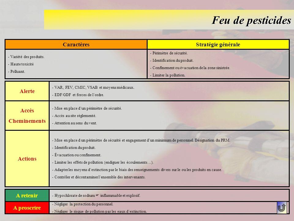 Feu de pesticides CaractèresStratégie générale - Variété des produits. - Haute toxicité - Polluant. - Périmètre de sécurité. - Identification du produ