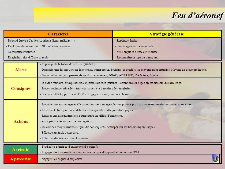 Feu daéronef CaractèresStratégie générale - Dépend du type davion (tourisme, ligne, militaire…). - Explosion des réservoirs. LSE du kérosène élevée. -