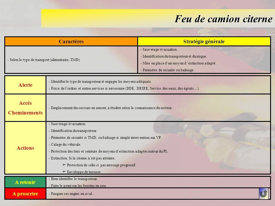 Feu de camion citerne CaractèresStratégie générale - Selon le type de transport (alimentaire, TMD). - Sauvetage/évacuation. - Identification du transp