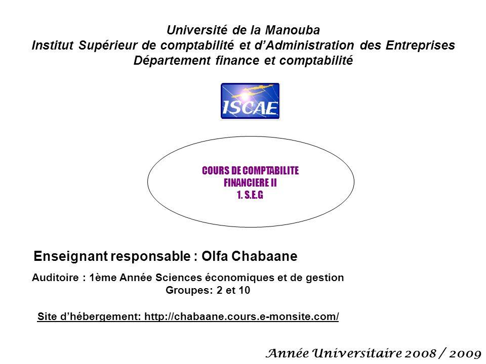 Université de la Manouba Institut Supérieur de comptabilité et dAdministration des Entreprises Département finance et comptabilité COURS DE COMPTABILITE FINANCIERE II 1.