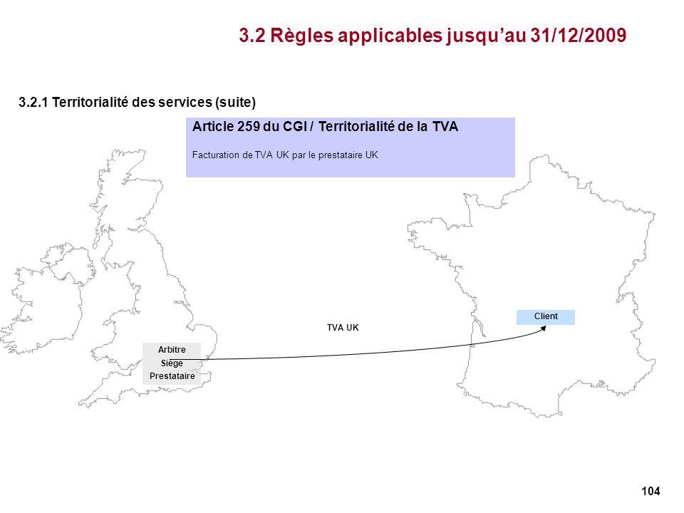 104 Article 259 du CGI / Territorialité de la TVA Facturation de TVA UK par le prestataire UK TVA UK Arbitre Siège Prestataire Client 3.2 Règles appli