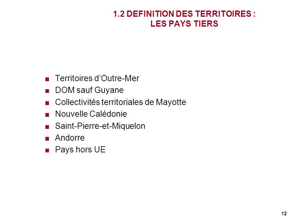 12 1.2 DEFINITION DES TERRITOIRES : LES PAYS TIERS Territoires dOutre-Mer DOM sauf Guyane Collectivités territoriales de Mayotte Nouvelle Calédonie Sa
