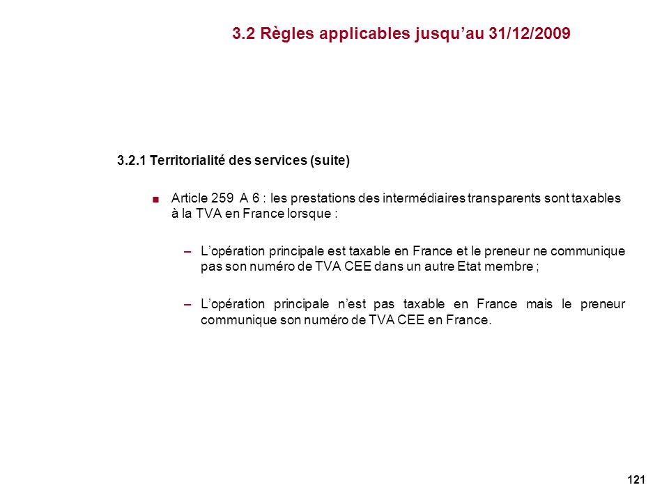 121 3.2.1 Territorialité des services (suite) Article 259 A 6 : les prestations des intermédiaires transparents sont taxables à la TVA en France lorsq