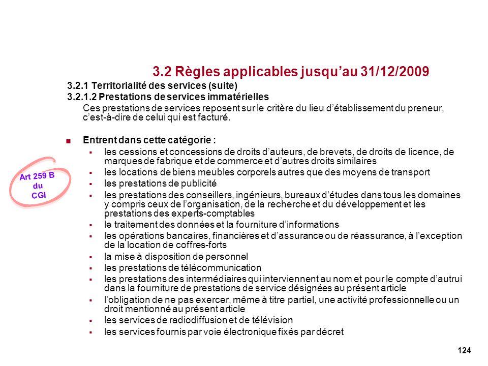 124 3.2 Règles applicables jusquau 31/12/2009 3.2.1 Territorialité des services (suite) 3.2.1.2 Prestations de services immatérielles Ces prestations