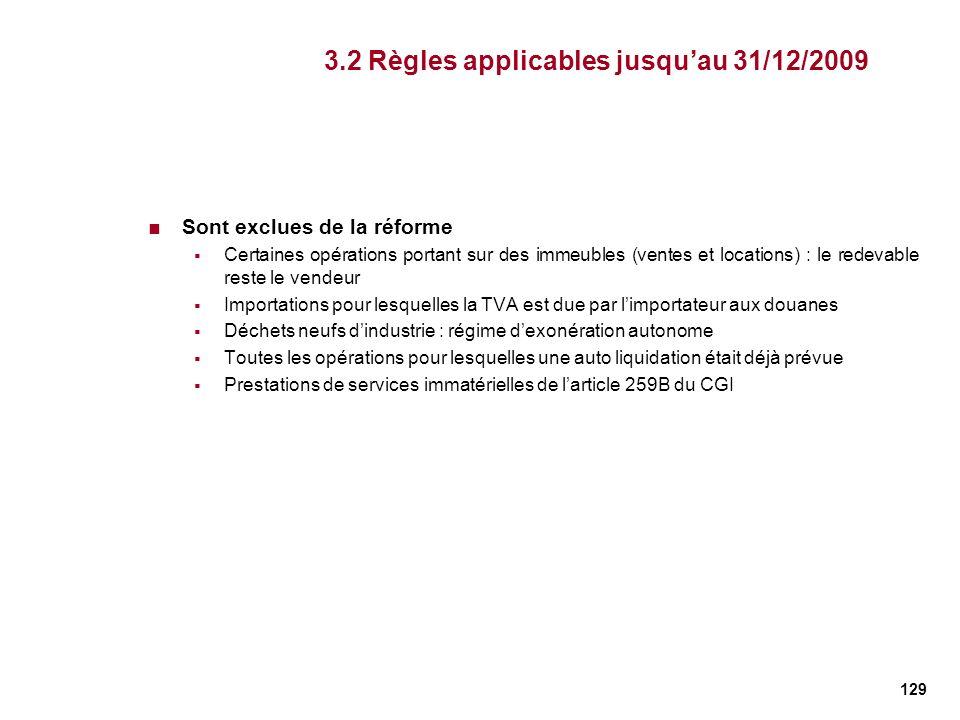 129 3.2 Règles applicables jusquau 31/12/2009 Sont exclues de la réforme Certaines opérations portant sur des immeubles (ventes et locations) : le red