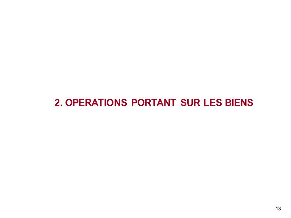 13 2. OPERATIONS PORTANT SUR LES BIENS