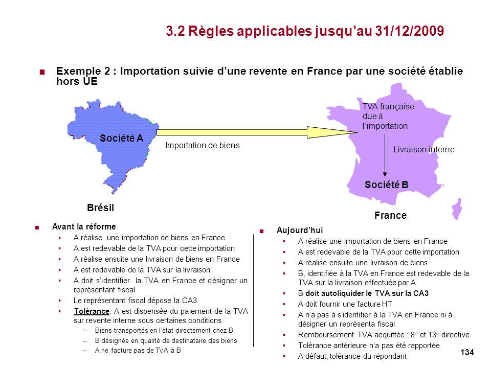 134 3.2 Règles applicables jusquau 31/12/2009 Exemple 2 : Importation suivie dune revente en France par une société établie hors UE Brésil Société A F