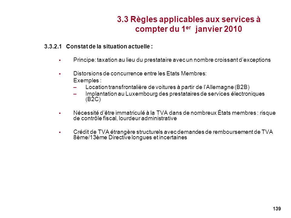 139 3.3.2.1 Constat de la situation actuelle : Principe: taxation au lieu du prestataire avec un nombre croissant dexceptions Distorsions de concurren