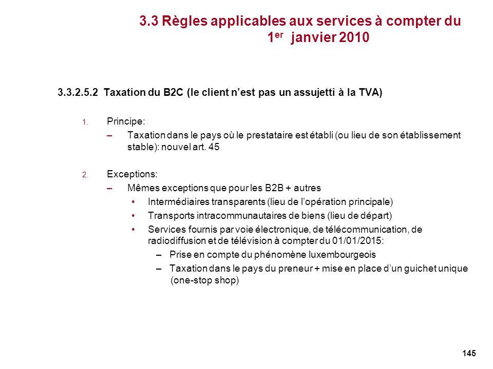 145 3.3.2.5.2 Taxation du B2C (le client nest pas un assujetti à la TVA) 1. Principe: –Taxation dans le pays où le prestataire est établi (ou lieu de