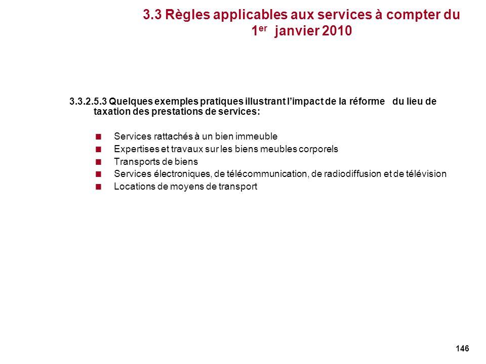 146 3.3 Règles applicables aux services à compter du 1 er janvier 2010 3.3.2.5.3 Quelques exemples pratiques illustrant limpact de la réforme du lieu