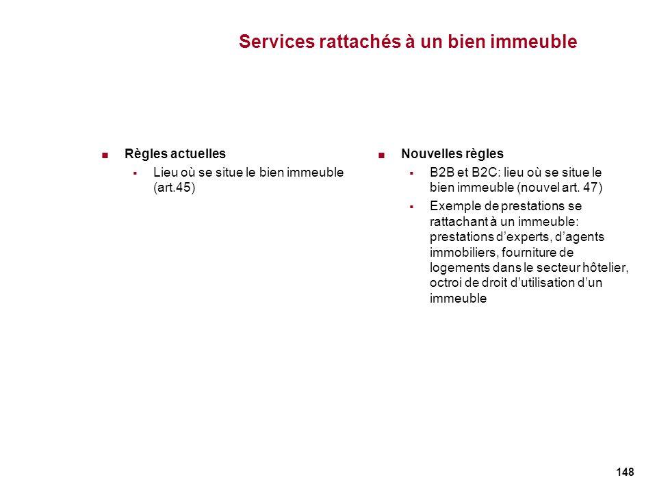 148 Services rattachés à un bien immeuble Règles actuelles Lieu où se situe le bien immeuble (art.45) Nouvelles règles B2B et B2C: lieu où se situe le