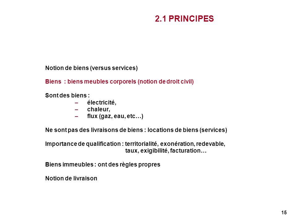 15 2.1 PRINCIPES Notion de biens (versus services) Biens : biens meubles corporels (notion de droit civil) Sont des biens : –électricité, –chaleur, –f