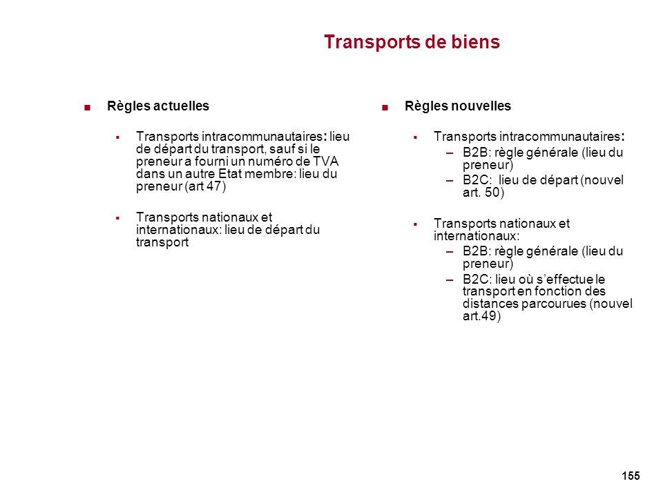 155 Transports de biens Règles actuelles Transports intracommunautaires: lieu de départ du transport, sauf si le preneur a fourni un numéro de TVA dan