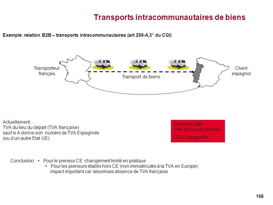 156 Transports intracommunautaires de biens Actuellement: TVA du lieu du départ (TVA française) sauf si A donne son numéro de TVA Espagnole (ou dun au