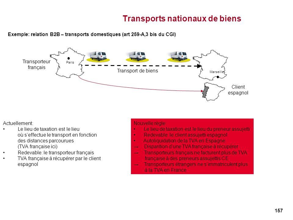 157 Transports nationaux de biens Actuellement: Le lieu de taxation est le lieu où seffectue le transport en fonction des distances parcourues (TVA fr