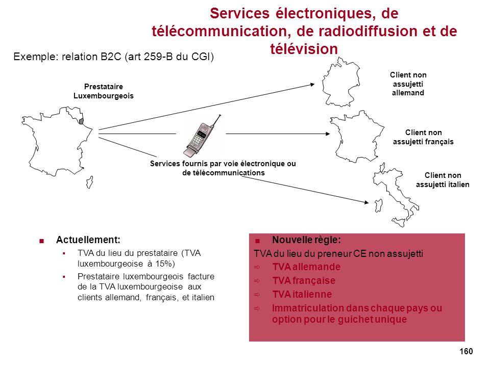 160 Services électroniques, de télécommunication, de radiodiffusion et de télévision Services fournis par voie électronique ou de télécommunications E