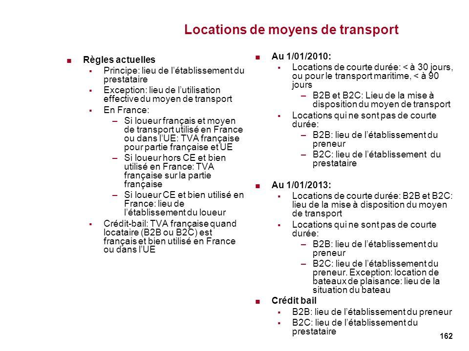 162 Locations de moyens de transport Règles actuelles Principe: lieu de létablissement du prestataire Exception: lieu de lutilisation effective du moy