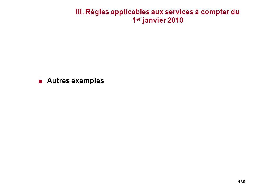 165 III. Règles applicables aux services à compter du 1 er janvier 2010 Autres exemples