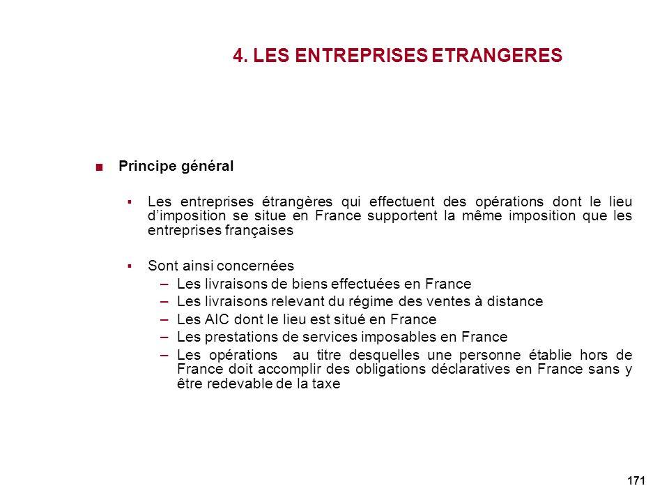 171 4. LES ENTREPRISES ETRANGERES Principe général Les entreprises étrangères qui effectuent des opérations dont le lieu dimposition se situe en Franc