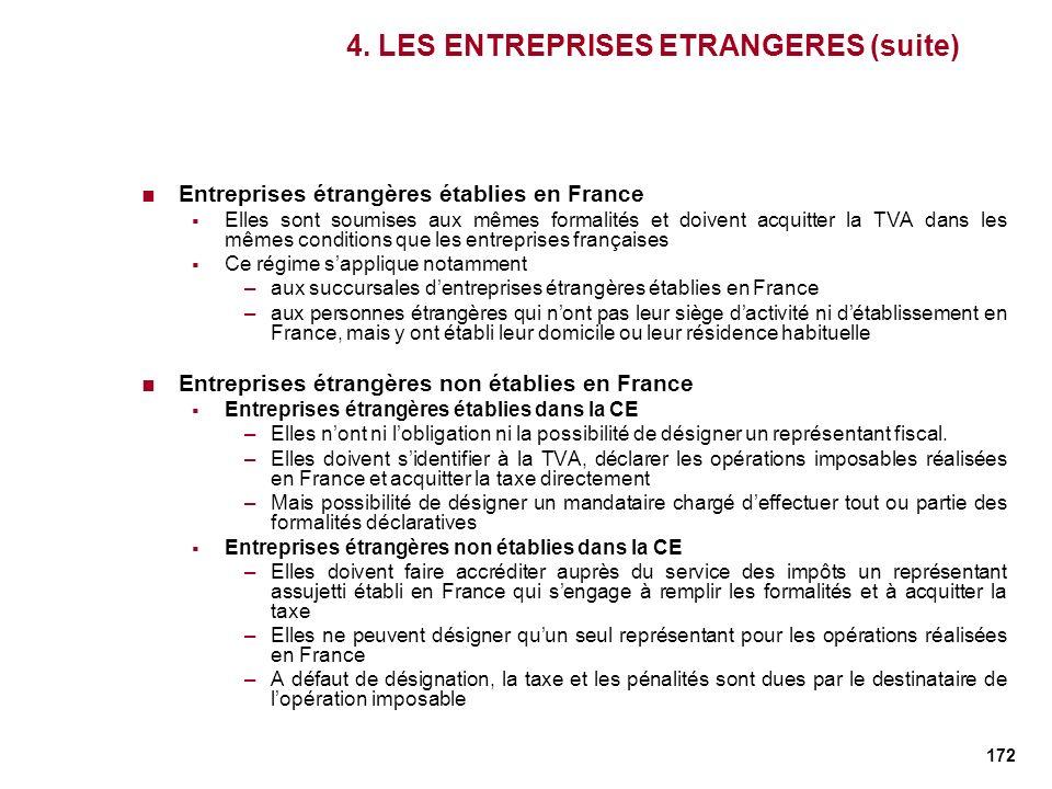172 4. LES ENTREPRISES ETRANGERES (suite) Entreprises étrangères établies en France Elles sont soumises aux mêmes formalités et doivent acquitter la T