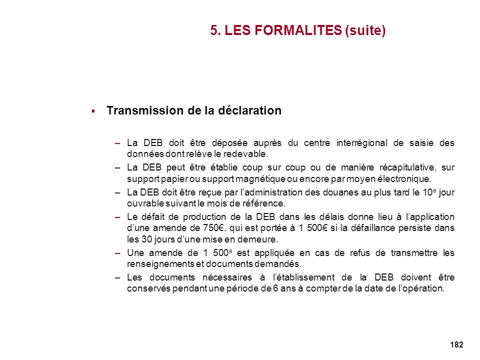 182 5. LES FORMALITES (suite) Transmission de la déclaration –La DEB doit être déposée auprès du centre interrégional de saisie des données dont relèv