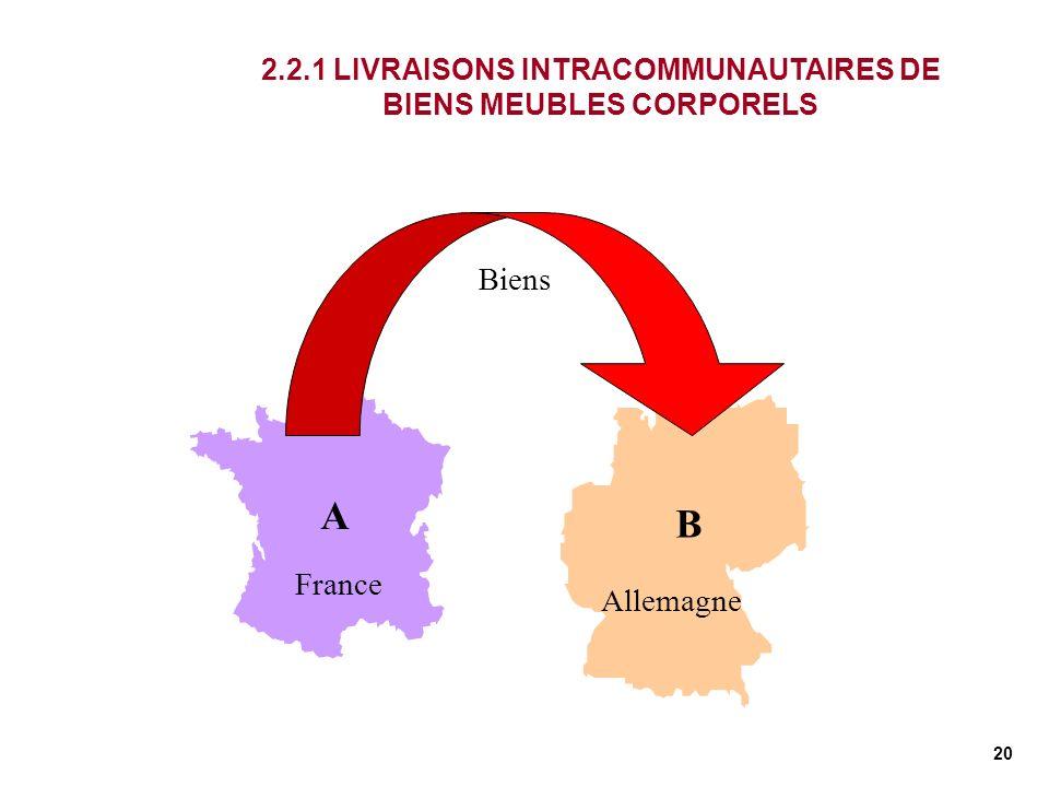 20 France Allemagne A B 2.2.1 LIVRAISONS INTRACOMMUNAUTAIRES DE BIENS MEUBLES CORPORELS Biens
