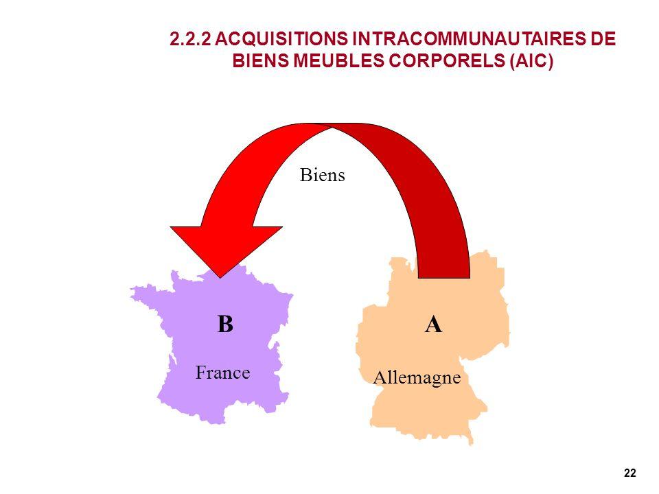22 France Allemagne AB 2.2.2 ACQUISITIONS INTRACOMMUNAUTAIRES DE BIENS MEUBLES CORPORELS (AIC) Biens
