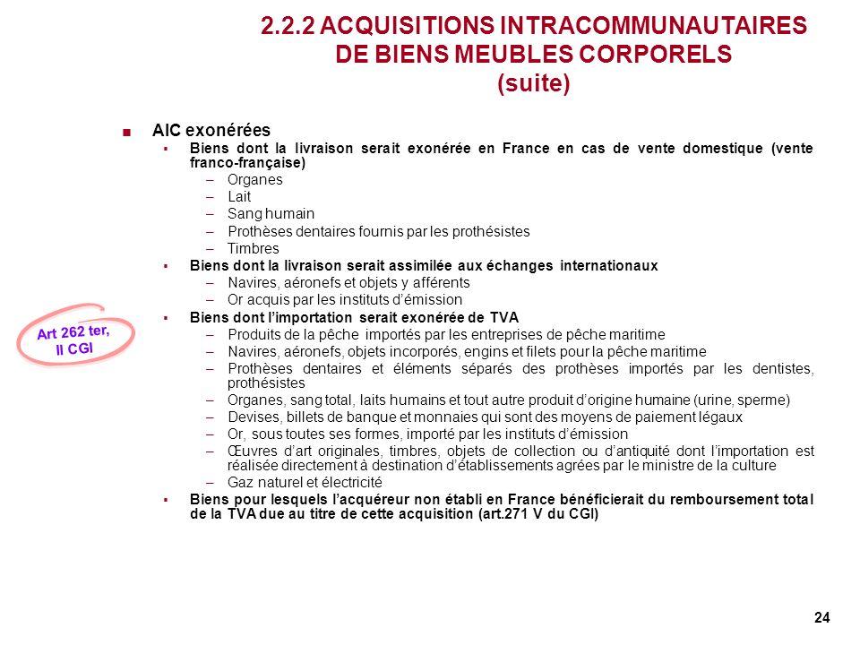 24 2.2.2 ACQUISITIONS INTRACOMMUNAUTAIRES DE BIENS MEUBLES CORPORELS (suite) AIC exonérées Biens dont la livraison serait exonérée en France en cas de