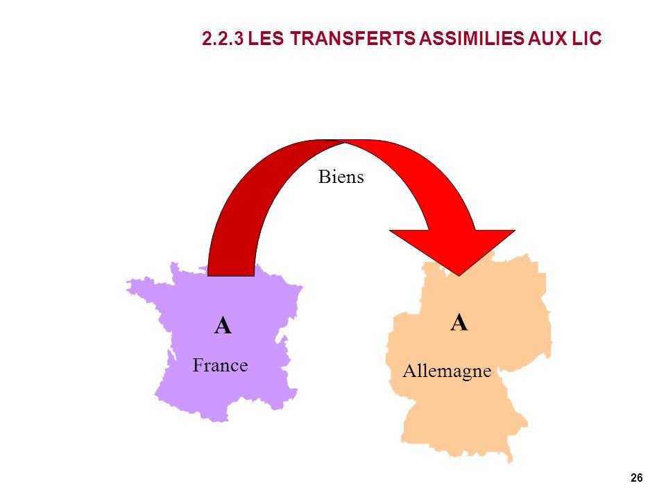 26 France Allemagne A A Biens 2.2.3 LES TRANSFERTS ASSIMILIES AUX LIC