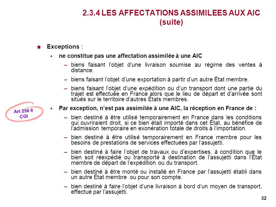 32 2.3.4 LES AFFECTATIONS ASSIMILEES AUX AIC (suite) Exceptions : ne constitue pas une affectation assimilée à une AIC –biens faisant lobjet dune livr