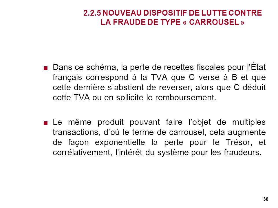38 2.2.5 NOUVEAU DISPOSITIF DE LUTTE CONTRE LA FRAUDE DE TYPE « CARROUSEL » Dans ce schéma, la perte de recettes fiscales pour lÉtat français correspo