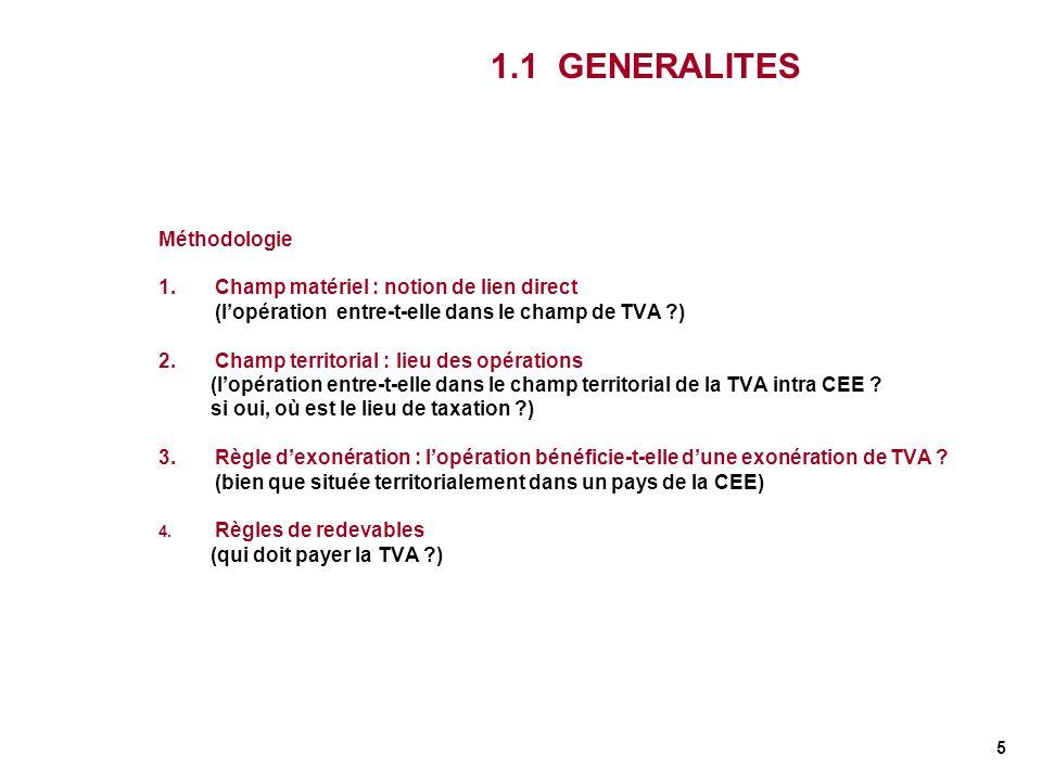5 1.1 GENERALITES Méthodologie 1.Champ matériel : notion de lien direct (lopération entre-t-elle dans le champ de TVA ?) 2. Champ territorial : lieu d