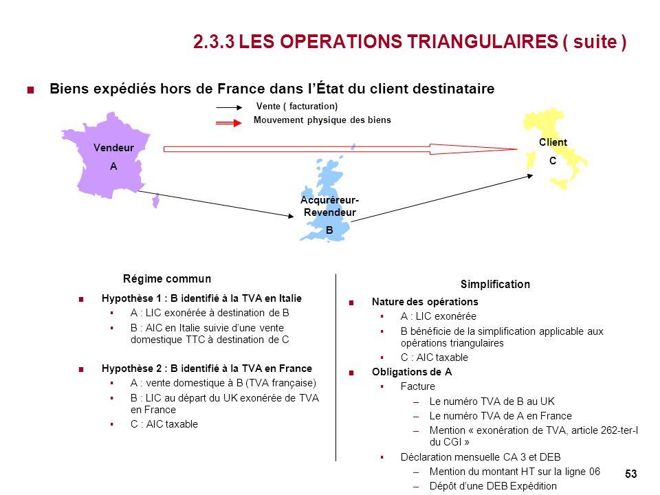 53 2.3.3 LES OPERATIONS TRIANGULAIRES ( suite ) Biens expédiés hors de France dans lÉtat du client destinataire Vendeur A Acquréreur- Revendeur B Clie