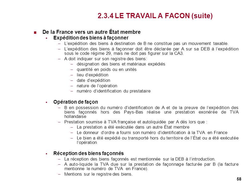 58 2.3.4 LE TRAVAIL A FACON (suite) De la France vers un autre État membre Expédition des biens à façonner –Lexpédition des biens à destination de B n