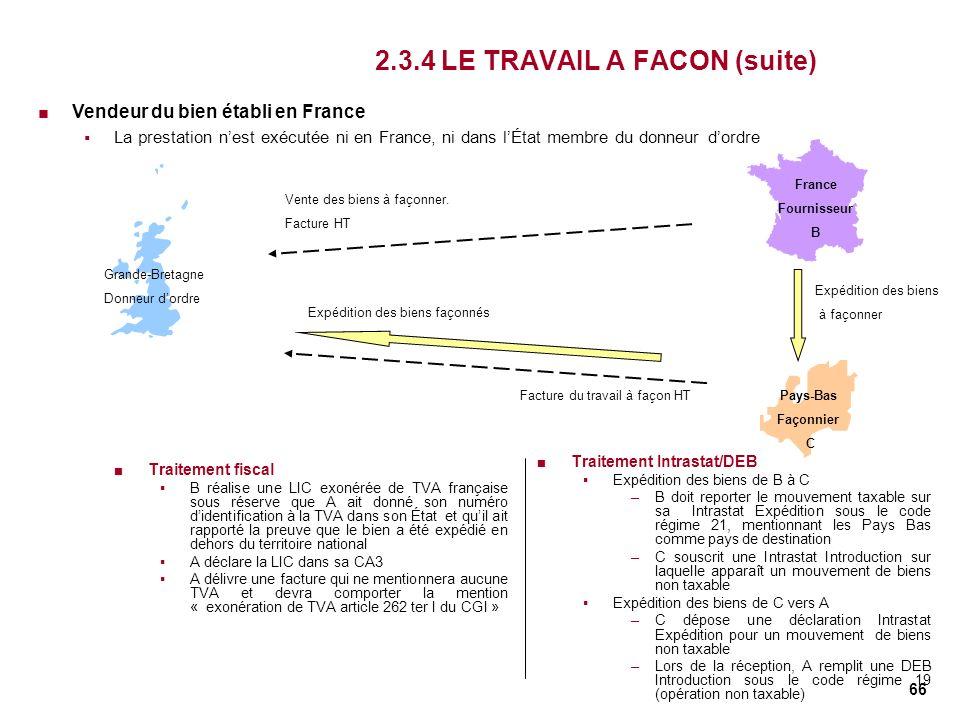 66 2.3.4 LE TRAVAIL A FACON (suite) Traitement fiscal B réalise une LIC exonérée de TVA française sous réserve que A ait donné son numéro didentificat