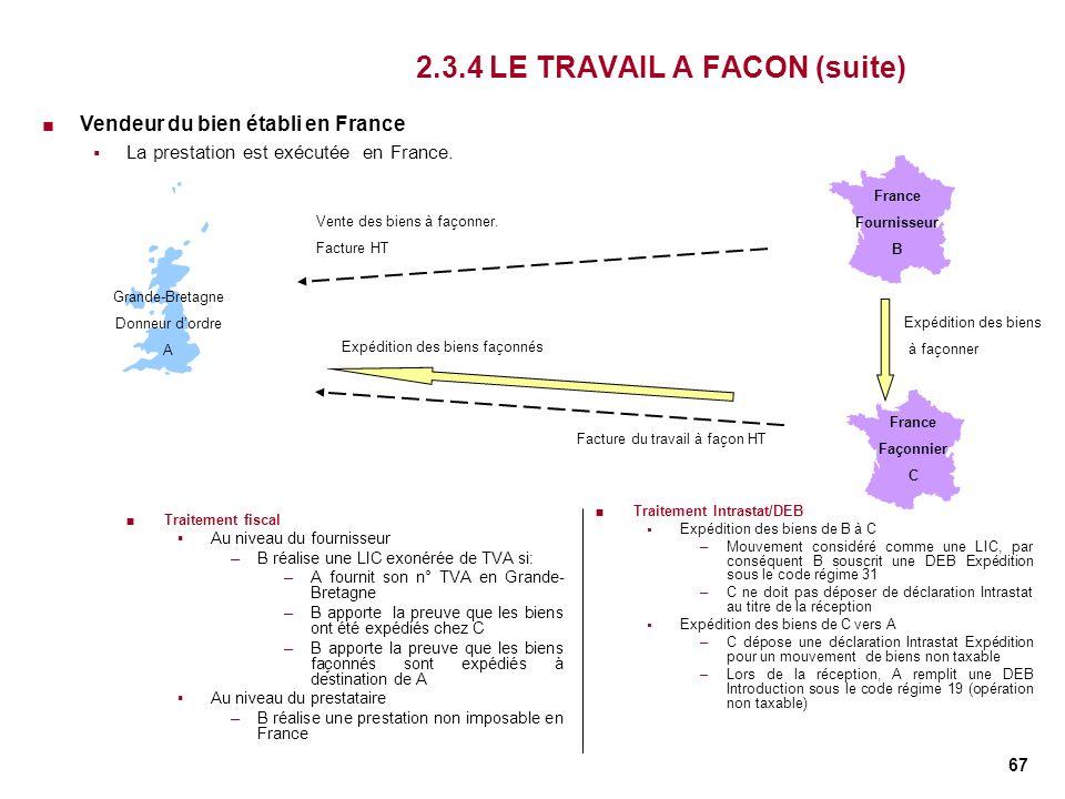 67 2.3.4 LE TRAVAIL A FACON (suite) Traitement fiscal Au niveau du fournisseur –B réalise une LIC exonérée de TVA si: –A fournit son n° TVA en Grande-
