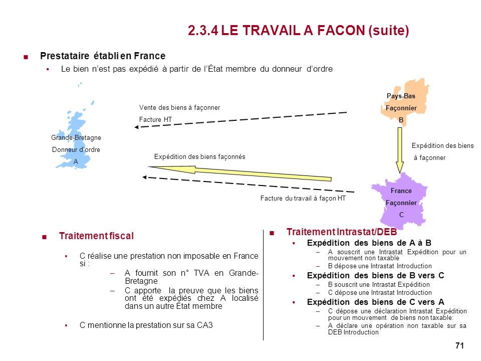 71 2.3.4 LE TRAVAIL A FACON (suite) Traitement fiscal C réalise une prestation non imposable en France si : –A fournit son n° TVA en Grande- Bretagne