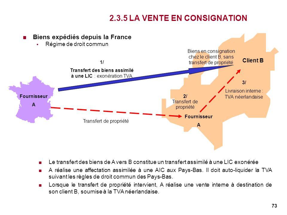 73 2.3.5 LA VENTE EN CONSIGNATION Biens expédiés depuis la France Régime de droit commun Fournisseur A Client B 1/ Transfert des biens assimilé à une
